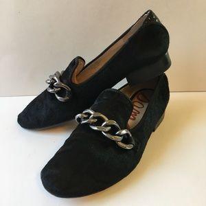 SAM EDELMAN Black CALF PONY FUR Loafer Chain 6 M